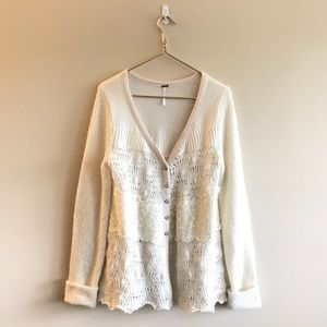 Free People Cream Crocheted Lace Sweater Cardigan
